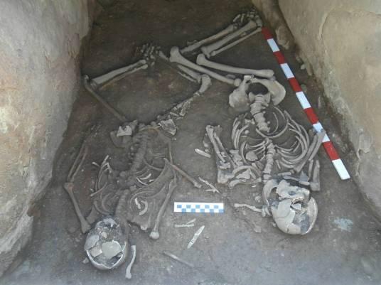 6. Les dues inhumacions disposades a l'interior de la cista, desprès de la seva neteja i delimitació. Fotografia: J. M. Espejo Blanco