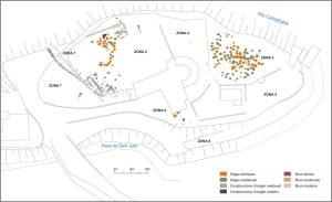 Planta del camp de sitges de Sant Esteve (Olius, Solsonès) amb diferenciació per èpoques.