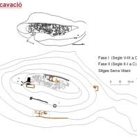 Sorba segons la planta de J. Serra i Vilaró i la dels treballs de reexcavació actuals. Jaciment de Sant Miquel de Sorba (Sorba, Montmajor)