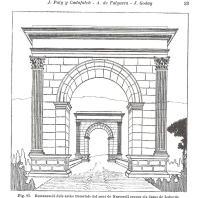 """Restitució dels arcs del pont romà de Martorell al primer volum de """"L'arquitectura romànica a Catalunya"""" de J. Puig i Cadafalch, A. de Falguera i J. Goday, 1909."""