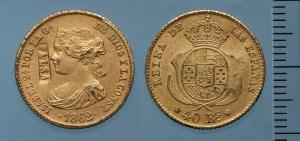 """40 rals d'Isabel II falsos, amb la contramarca """"FALSA"""". Després de 1862. Museu Nacional d'Art de Catalunya."""