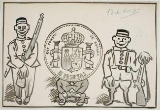 Un duro detingut. Dibuix satíric de Josep Costa Ferrer, Picarol, relatiu a l'afer dels duros sevillanos. Cap a 1908. Museu Nacional d'Art de Catalunya