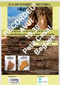 Cartell de la xerrada: La terra crua a la cova de Can Sadurní. Els seus diversos usos com a element constructiu