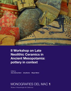 "Portada de la publicació ""Workshop on late Neolithic ceramics in ancient Mesopotamia: Pottery in context"""