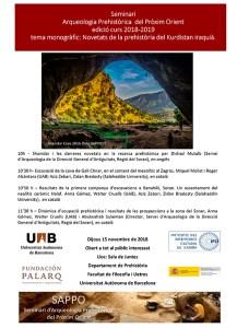 Cartell del del Seminari d'Arqueologia del Pròxim Orient (2018-2019), que, en aquesta ocasió se centrarà en les novetats de la recerca prehistòrica a la zona del Zagros (Kurdistà Iraquià)