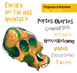 Portada del tríptic del programa d'activitats del Museu de l'Institut Català de Paleontologia Miquel Crusafont