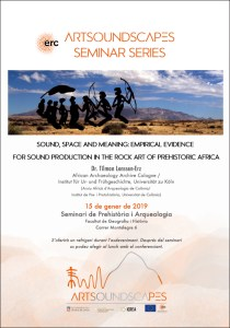 """pòster del """"Sound, space and meaning: empirical evidence for sound production in the rock art of prehistoric Africa"""""""