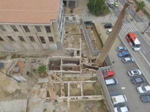 1. Imatge aèria de la intervenció arqueològica. Fotografia: Òscar Matas