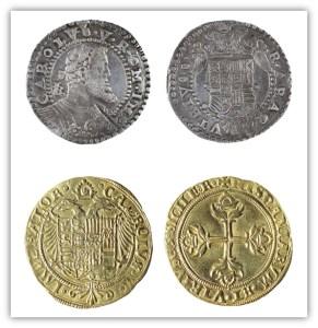 Carles I. Mig ducat de Nàpols de l'emperador Carles, 1552 Carles I. Escut de Barcelona de l'emperador Carles, 1535