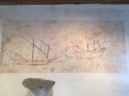 7. Grafits de vaixells a la torre de guaita de Can Franquesa (actual Societat Cultural de Sant Jaume) a Premià de Dalt. Fotografia: Gemma Garcia