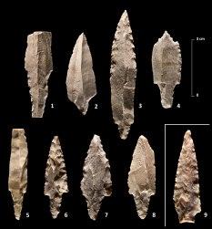 Efe 5. Projectils trobats al jaciment de Nahal Efe (Israel). Fotografia: Projecte Nahal Efe i Projecte Kharaysin