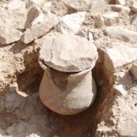 6. Detall d'una urna amb tapadora i el forat de l'ànima en el llavi. Fotografia: Iltirta Arqueologia