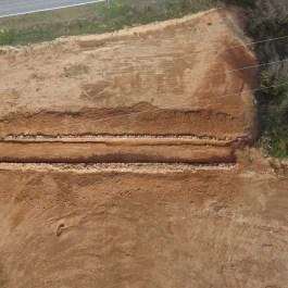 1. Vista aèria del camí després de la seva excavació. Del segle XVI, però potser fossilitzant una antiga via romana. Fotografia: Arqueòlegs.cat