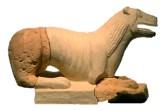Reconstrucció d'una de les escultures de felí