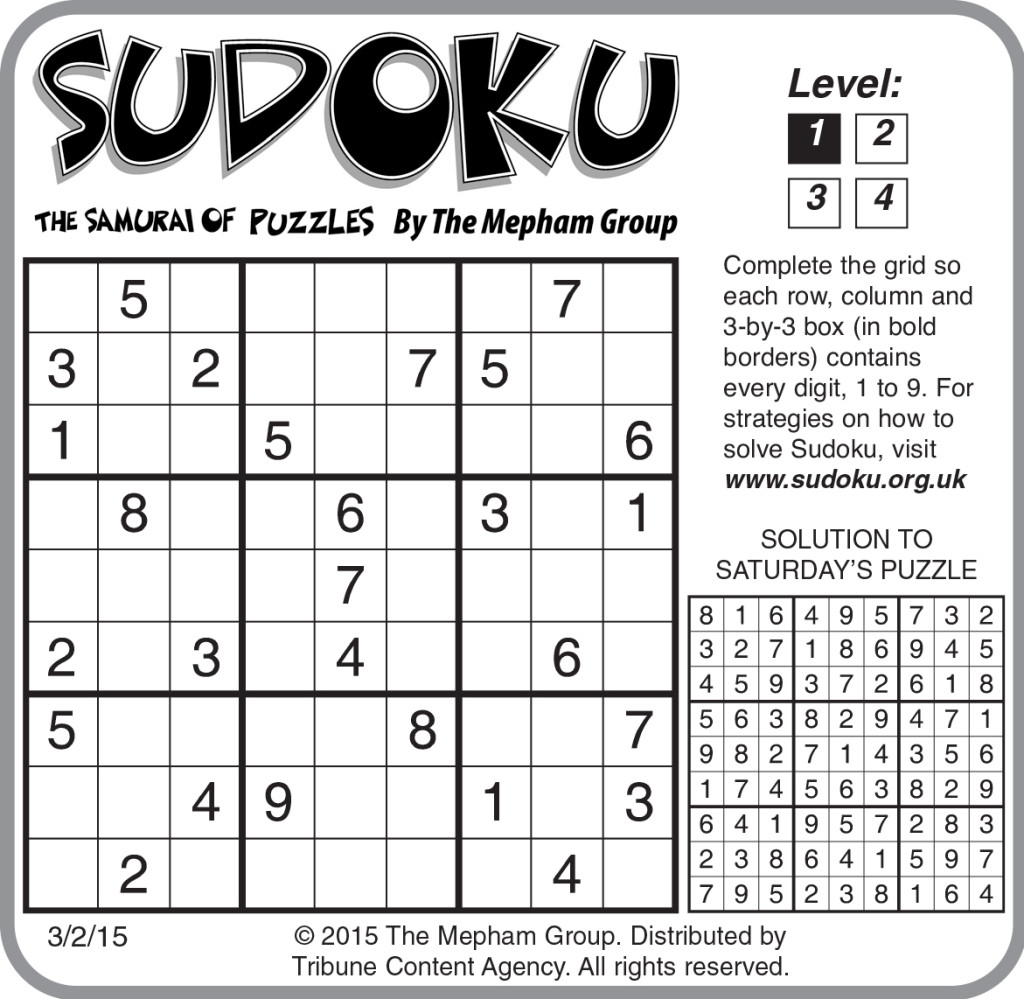 Sample Of Sudoku Daily Horizontal