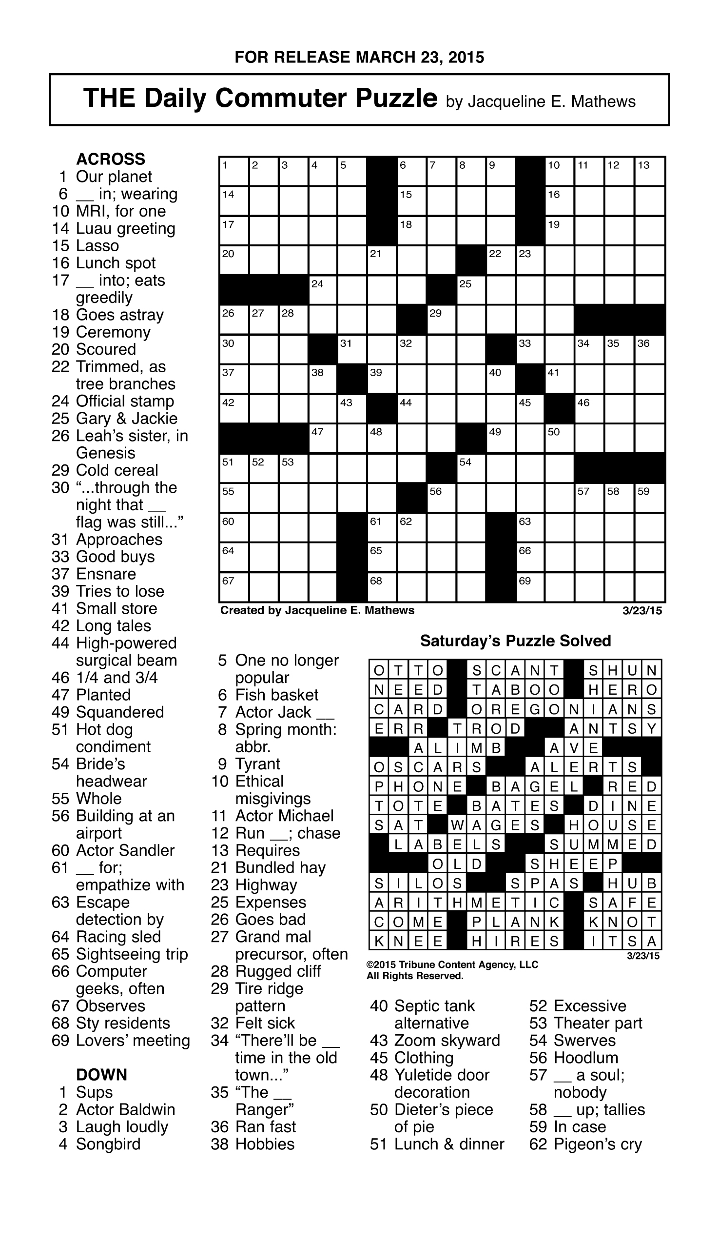 Sample Of The Daily Commuter Puzzle