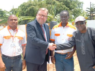 From left: Humphrey Otalor, Marketing Communications Manager, Dizengoff Nigeria; Antti Ritvonen, Country Manager/CEO, Dizengoff Nigeria; Oscar Walumbe, Integrated Project Manager and Olatunde Agoro, Chief Executive Officer, Latag Venture Farms, during a media tour of the Dizengoff greenhouse farm in Lagos.