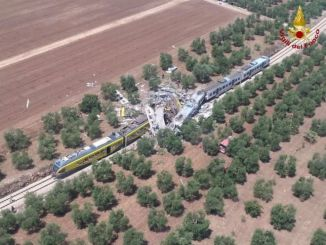 Several carriages were completely destroyed in the collision on a single-track line near Andria. PHOTO: ITALIAN FIRE SERVICE
