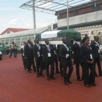 Body of the late Stephen Keshi arriving the Samuel Ogbemudia Stadium, Benin.