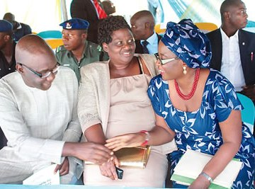 Ekiti State deputy governor, Dr Kolapo Olusola (left) with daughters of Late Lt. Col. Adekunle Fajuyi, Mrs Bukola Olanrewaju (middle) and Mrs Monica Olajuyigbe, at one of the events marking the 50th Remembrance Anniversary, at Fajuyi Park, Ado-Ekiti.