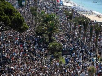 Thousands gathered to honour victims of the Nice attack. PHOTO: REUTERS