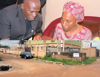 Mrs Osinbajo consoling Pastor Olawale. INSET: The junction where the deceased used to preach and where she was murdered.