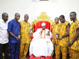 The Goldberg team with His Royal Majesty, Oba (Dr) Rufus Adeyemo Adejugbe Aladesanmi III (CON, JP), the Ewi of Ado-Ekiti, during the tour last weekend.