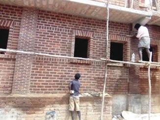 A brick house under construction