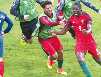 Eder celebrating his goal against France in the final of EURO 2016