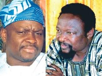 Governor Ayo Fayose, Ekiti State, left  and Chief Jide Awe, Ekiti APC Chairman