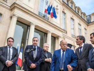 Representatives from France's major faith groups were at the Elysee Palace meeting. PHOTO: EPA