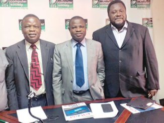 From left: Mr Iyiola Ayoola, Director, Corporate Affairs/Head of Secretariat; Professor Adesola Aderounmu, President and Mr Jide Awe, Chairman, Publicity, Events & Trade Services Committee, all of the Nigeria Computer Society (NCS) during the press conference heralding the 13th International Conference of the association in Lagos, last week.