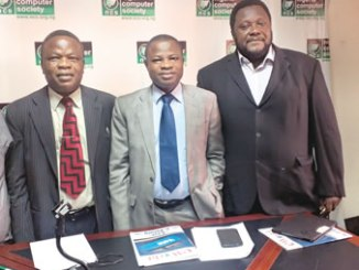From left, Mr Iyiola Ayoola, Director, Corporate Affairs/Head Secretariat; Professor Adesola Aderounmu, President and Mr Jide Awe, Chairman, Publicity, Events & Trade Services Committee, all of the Nigeria Computer Society (NCS) during the press conference heralding the 13th International Conference of the association in Lagos, recently.