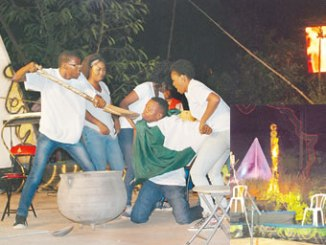 A scene from 'Ricee' and 'Etiko Revo Wetin'   INSET: Corruption burning in the Ijegba Forest Amphitheatre