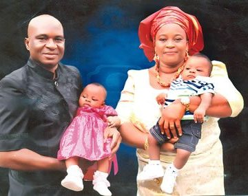 The deceased, Lawrence Okoh, his wife, Nneka and their twin children before his death.