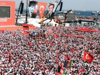 Thousands of protesters unite at Istanbul for post-coup rally. PHOTO: AFP