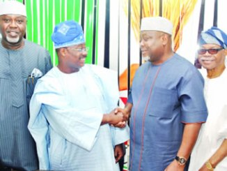 National Organising Secretary, All Progressives Congress (APC), Senator Osita Izunaso (third right), exchanging pleasantries with the chairman, screening committee for the 2016 Ondo State governorship election primaries, Governor Abiola Ajimobi, during the inauguration of the committee, in Abuja, on Wednesday. They are flanked by the APC national auditor, Chief George Moghalu (left) and the National Vice-Chairman (South-West), Chief Pius Akinyelure (right).