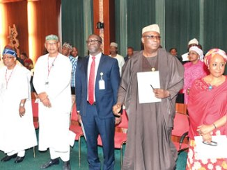 From left, Permanent Secretary, Ministry of Foreign Affairs, Ambassador Sola Enikanolaiye;  Special Adviser on Economic Matters, Dr Adeyemi Dipeolu; Special Adviser on Planning, Alhaji Tijjani Abdullahi; Special Adviser on Political Matters, Senator Babafemi Ojodu and the Special Adviser on Social Investment, Mrs Maryam Uwais, during their swearing-in by President Muhammadu Buhari, at the Council Chambers, Abuja, on Wednesday.