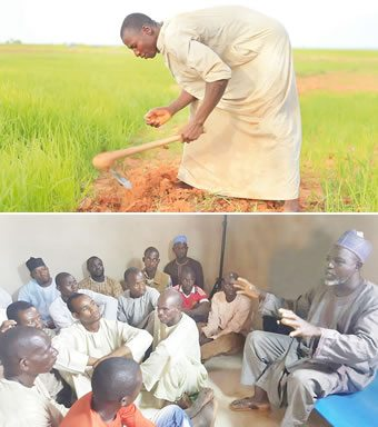 Awali working on the farm. BELOW: Danjuma Bisi addressing a cross section of rice farmers during their weekly cooperative society meeting. PHOTO: RUTH OLUROUNBI