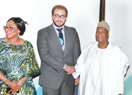 From right: NDIC Managing Director/Chief Executive, Umaru Ibrahim welcoming Julian Casal, a member of the World Bank Project Mission Team to the NDIC, on the establishment of target Deposit Insurance Fund (DIF) Ratio and NDIC Executive Director, Corporate Services, Omolola Abiola Edewor.