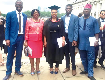 Matesun with family members during her graduation ceremony at Greenwich, United Kingdom, recently.