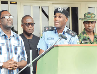 From right, Commander, 9 Mechanised Brigade, Brigadier-General Sanni Mohammed; Commissioner of Police, Mr Fatai Owoseni; Attorney General and Commissioner for Justice, Mr Adeniji Kazeem and the Commissioner for Information and Strategy, Mr Steve Ayorinde, jointly addressing journalists on the rescue of the Oniba of Iba, Oba Goriola Oseni, at the Lagos House, Ikeja, on Sunday.