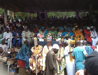 Ataoja of Osogbo, Oba Jimoh Olanipekun, in the middle flanked by dignitaries during Osun Osogbo festival celebration, on Friday.