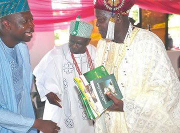 From left, Honourable Bosun Oyintiloye, representing Obokun State Constituency; Owa Oye of Imesi Ile, Oba Enoch Adeyemi (Oyoyo II) and another traditional ruler during the annual commemoration of Yoruba Peace Treaty Day, in Imesi Ile .