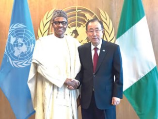 UN Secretary-General Ban Ki-moon (right) shake hands with Nigeria's President, Muhammadu Buhari at the UN headquarters in New York, on September 28, 2015.