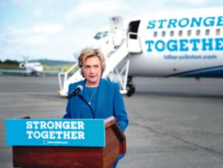 U.S. Democratic presidential candidate Hillary Clinton holds a news conference on the airport tarmac in front of her campaign plane in White Plains, New York, United States. PHOTO: REUTERS