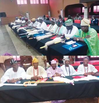 From left, Onpetu of Ijeruland, Oba Sunday Oladapo Oyediran; Eleruwa of Eruwa, Oba Samuel Adebayo Adegbola; Onjo of Okeho, Oba Rafiu Osuolale Mustapha; Alagoare of Ago Are, Oba Olagoke Jubril and the Akibio of Ilora, Oba Stephen Olufemi Oyeniyi, at a workshop, in Ibadan, last week.