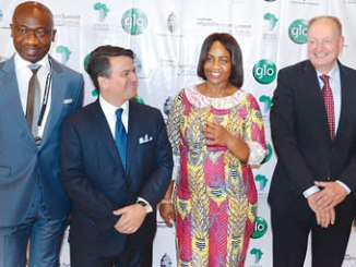 From left, Akeem Yusuff, Globacom's Head of Operations, North Central; CEO, World Pension Summit, Chris Battaglia; Mrs Chinelo Anohu-Amazu, Director-General of National Pension Commission and the Founder and Advisory Board Member, World Pension Summit, Harry Smorenberg, when the Data grandmasters, Globacom, on Tuesday, partnered National Pension Commission (PenCom) to host the 2016 World Pension Summit 'Africa Special'.