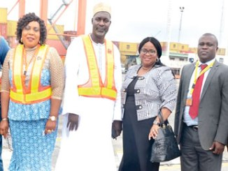 From left, Executive Director, Human Resources and Administration, SIFAX Group, Dr Fola Rogers-Saliu; Acting Managing Director, Ports & Cargo Handling Services Limited, Alhaji Mohammed Bulangu; Deputy Managing Director/ Chief Risk Officer, Diamond Bank Plc, Caroline Anyanwu and Sales Executive, DHL Global Forwarding, Adeyemi Olusegun, during the Diamond Bank/DHL Global Forwarding business and investment assessment tour of the Ports & Cargo Handling Services Limited (P&CHS) facilities in Lagos recently.