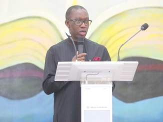 Delta State governor, Ifeanyi Okowa addressing the congregation at the Government House Chapel, Asaba, Wednesday.